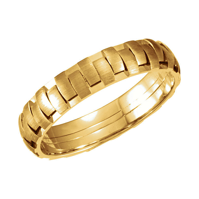 14k Gold 5mm Patterned Wedding Band