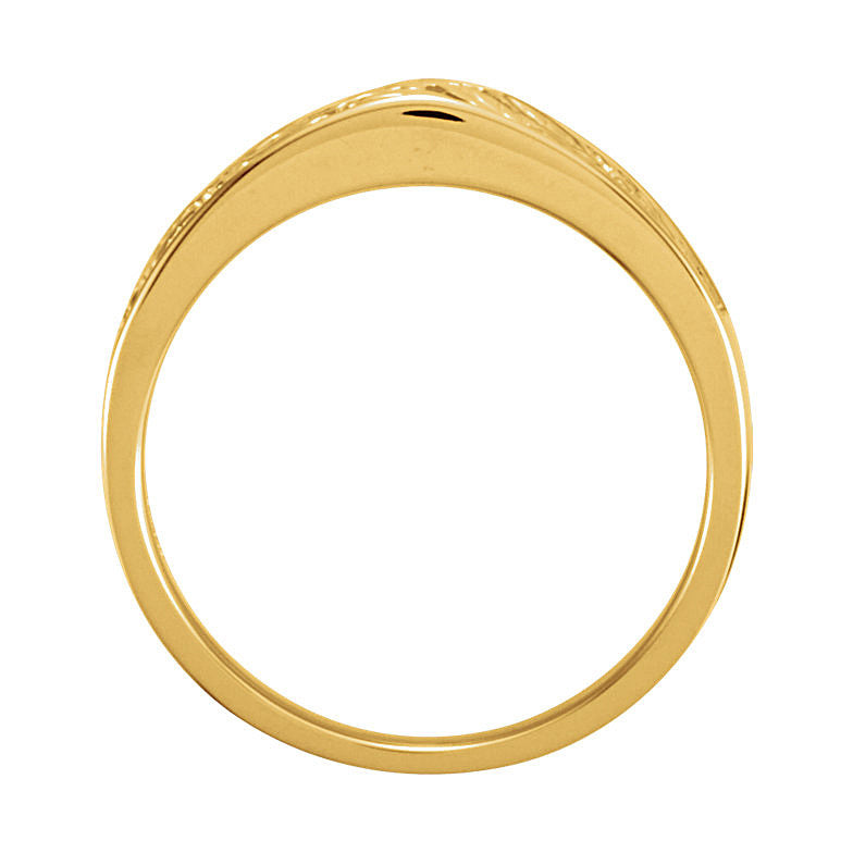 14k Gold 6.5mm Design Wedding Band