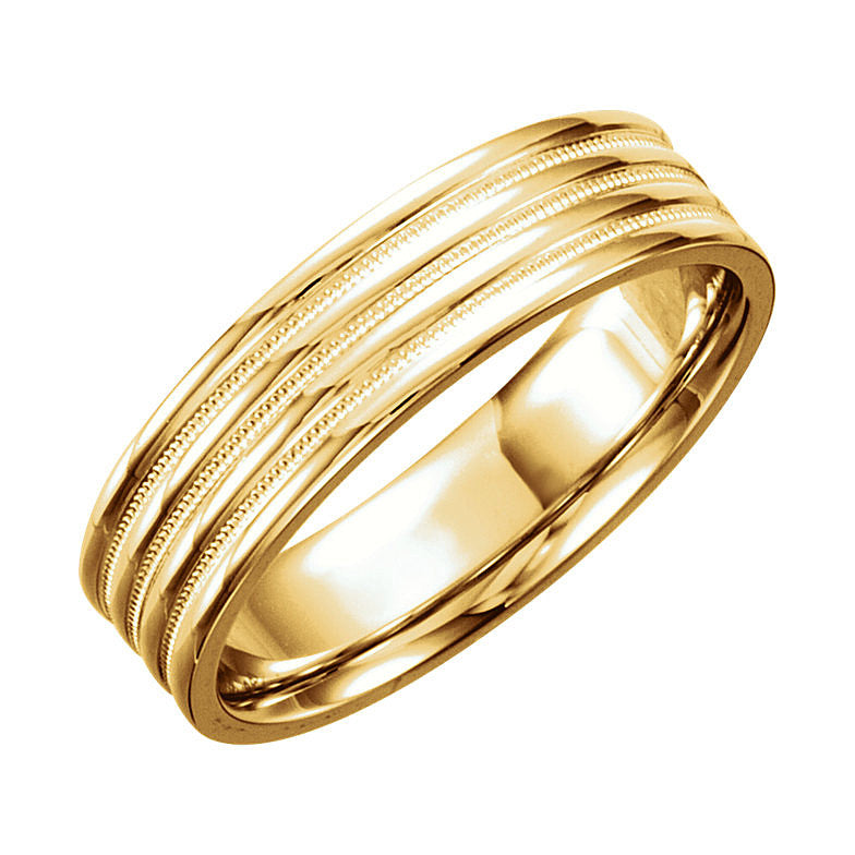 14k Gold 6mm Comfort-Fit Design Wedding Band