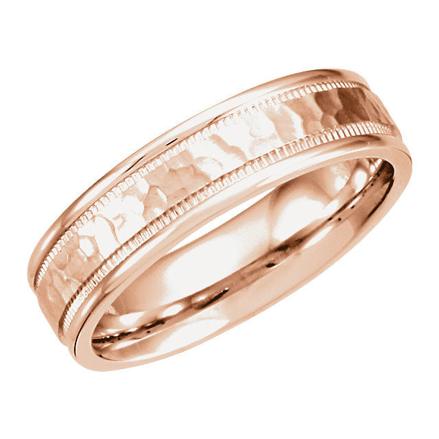14k Gold 6mm Fancy Carved Band with Micro-Hammer Finish