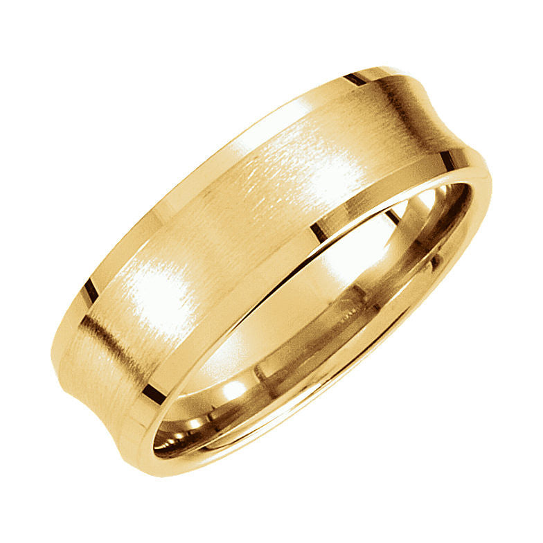 14k Gold 7.5mm Fancy Beveled Edge Carved Wedding Band