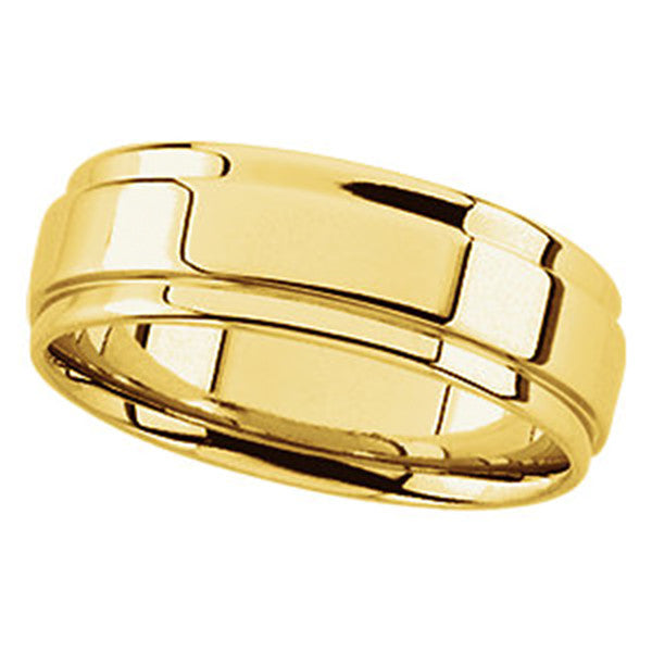 14k Gold 7.5mm Grooved Flat Edge Comfort-Fit Wedding Band