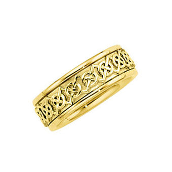 14k Gold 7mm Celtic-Inspired Design Wedding Band