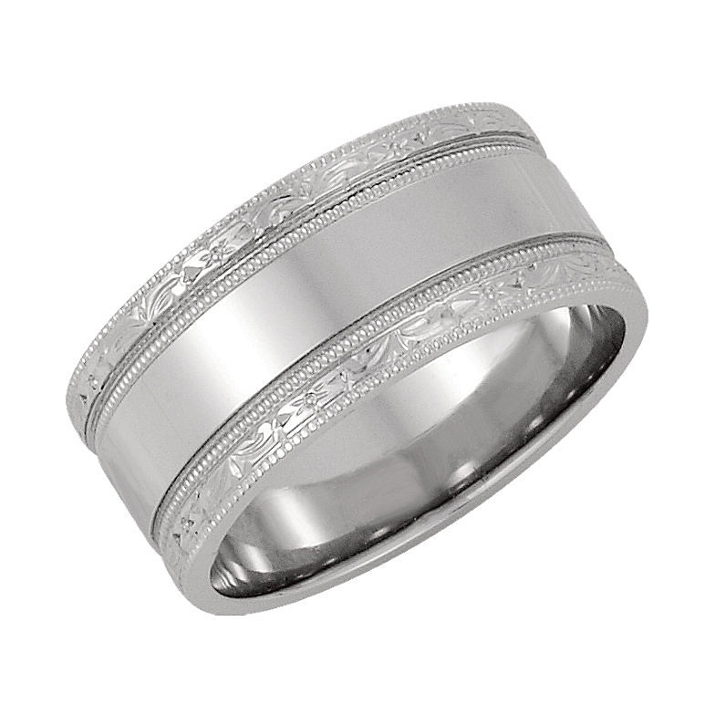 14k Gold 8.5mm Hand Engraved Wedding Band