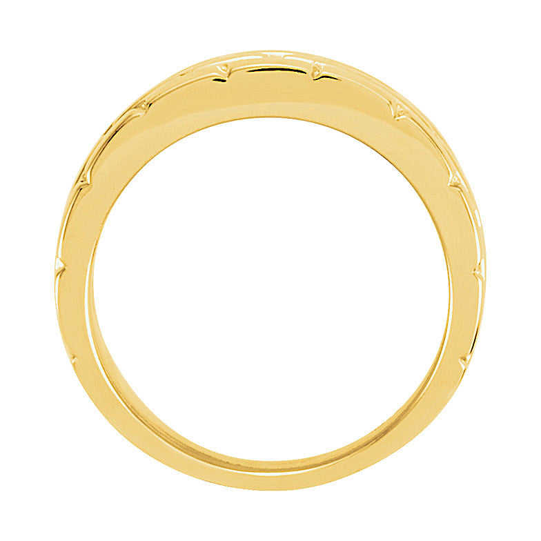 14k Gold 8mm Brick Design Tapered Wedding Band