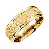 14k Gold 8mm Fancy Patterned Carved Wedding Band