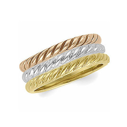 14k Tri-Color Gold 2mm Rope Design Stacking Band