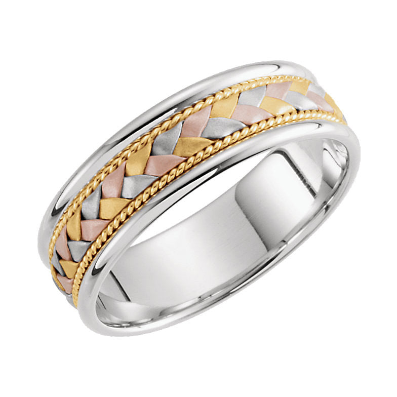 14k Tri-Color Gold 6mm Hand-Woven Milgrain Wedding Band