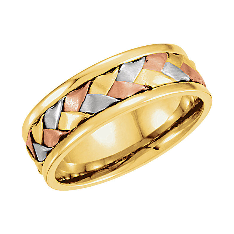 14k Tri-Color Gold 7.75mm Hand-Woven Wedding Band