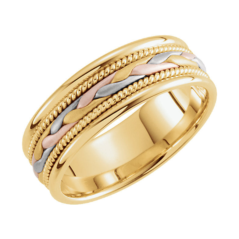 14k Tri-Color Gold 7mm Hand-Woven Wedding Band