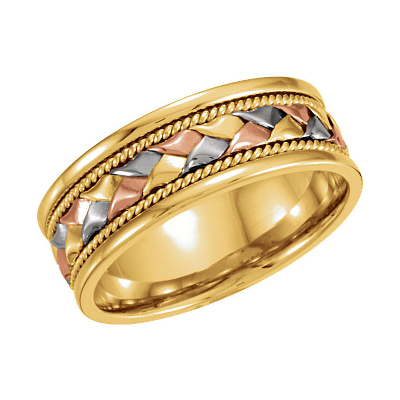 14k Tri-Color Gold 8mm Hand-Woven Comfort-Fit Wedding Band