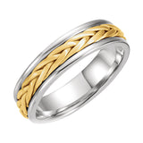 14k Two-Tone 5mm Hand-Woven Wedding Band