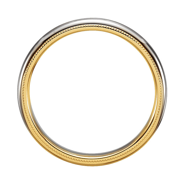 14k Two-Tone Gold 3.5mm Comfort-Fit Milgrain Wedding Band