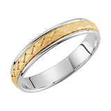 14k Two-Tone Gold 4mm Hand-Woven Wedding Band