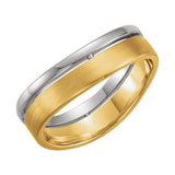 14k Two-Tone Gold 6.4mm Wedding Band