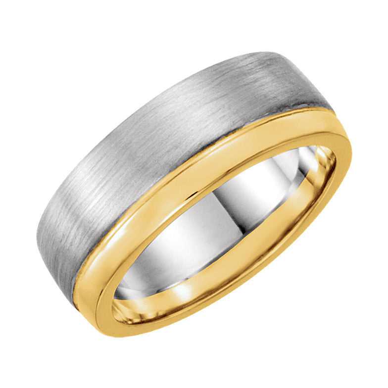 14k Two-Tone Gold 6.75mm Wedding Band