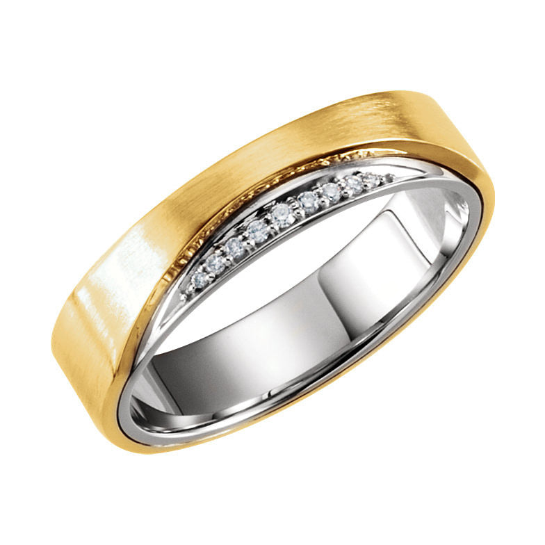 14k Two-Tone Gold 6mm 0.05CT Diamond Wedding Band