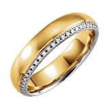 14k Two-Tone Gold 6mm 0.25CT Diamond Wedding Band