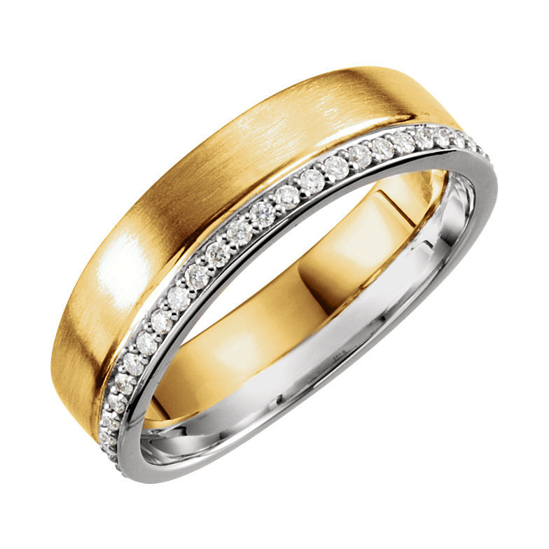 14k Two-Tone Gold 6mm 0.30CT Diamond Wedding Band