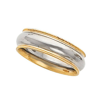 14k Two-Tone Gold 6mm Comfort-Fit Milgrain Wedding Band