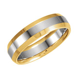 14k Two-Tone Gold 6mm Comfort-Fit Wedding Band