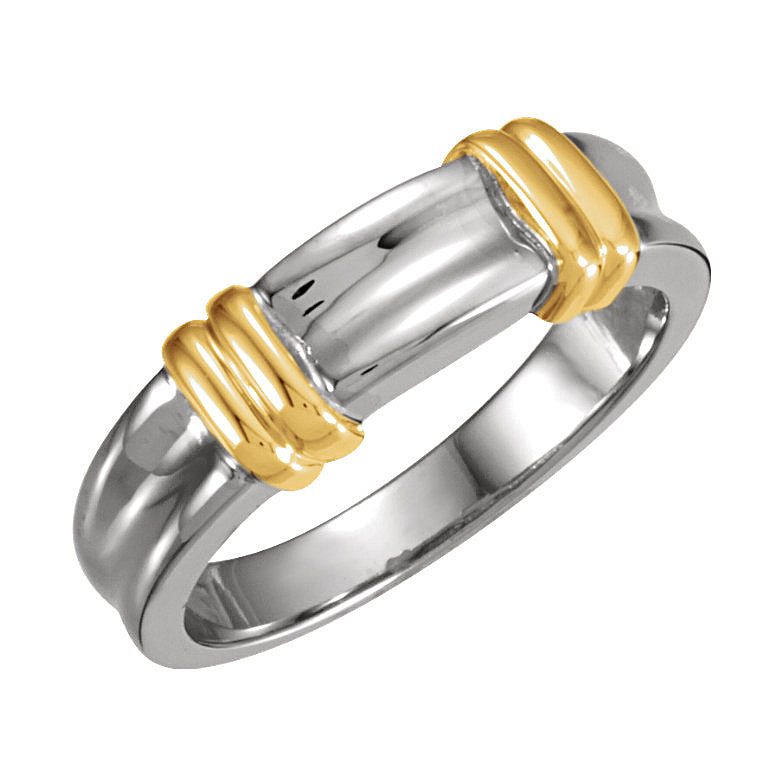 14k Two-Tone Gold 6mm Fancy Wedding Band
