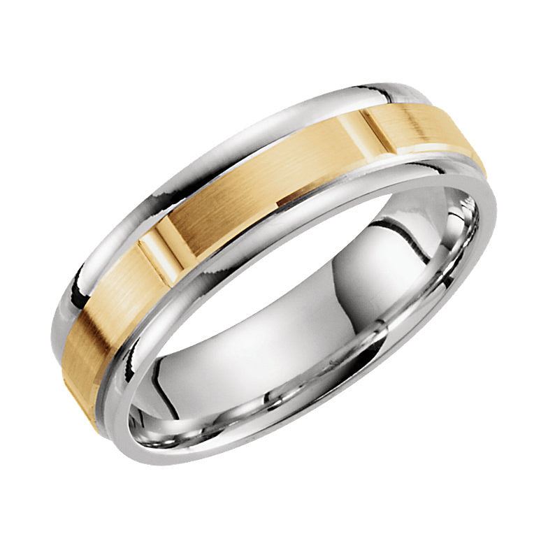 14k Two-Tone Gold 6mm Grooved Wedding Band