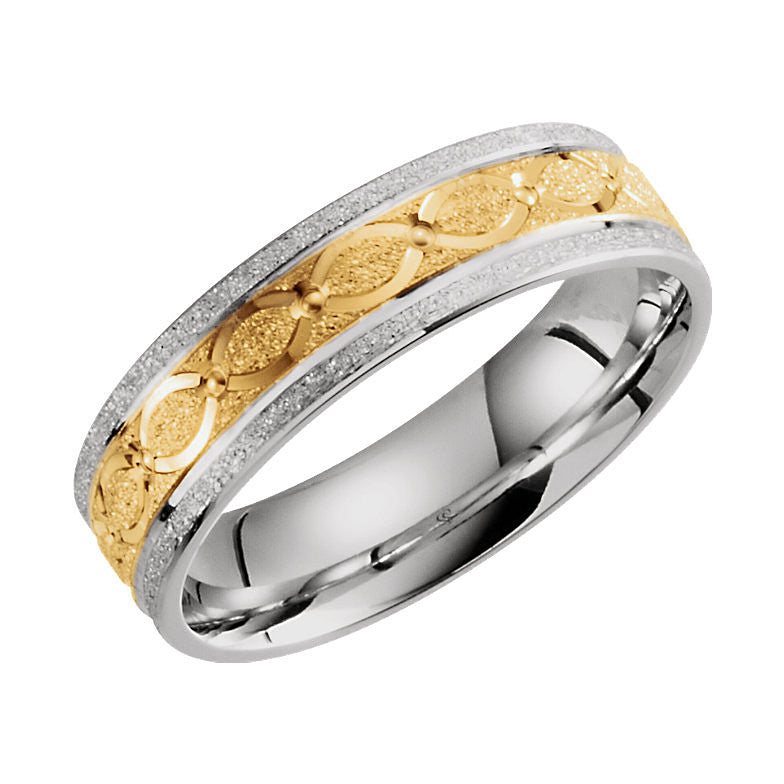 14k Two-Tone Gold 6mm Patterned Wedding Band
