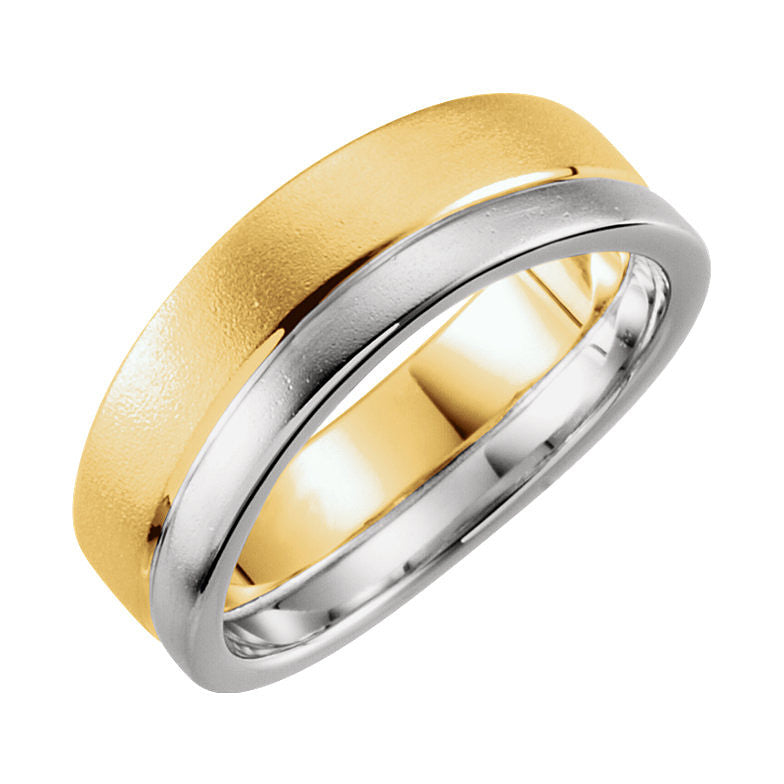 14k Two-Tone Gold 6mm Wedding Band