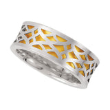 14k Two-Tone Gold 7mm Laser Pierced Comfort-Fit Wedding Band