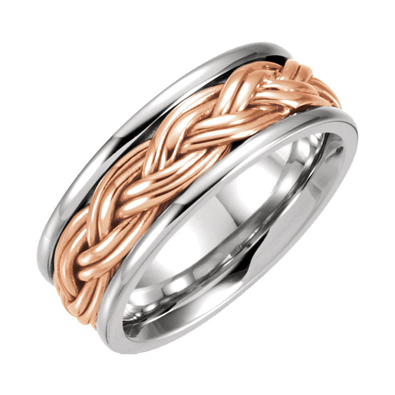 14k White & Rose Gold 8mm Hand-Woven Wedding Band