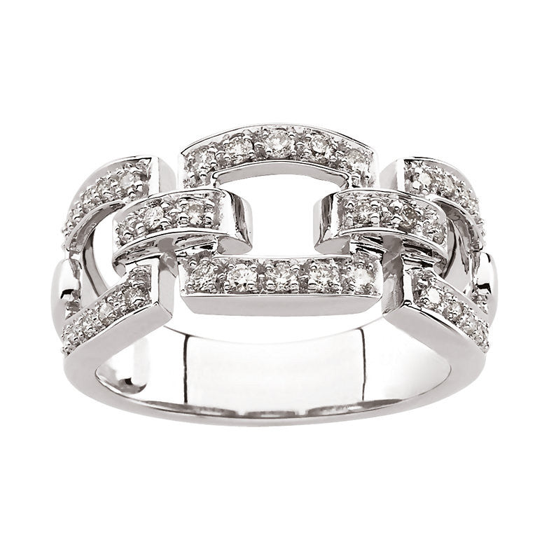 14k White Gold 0.30 CT Diamond Link-Style Ring