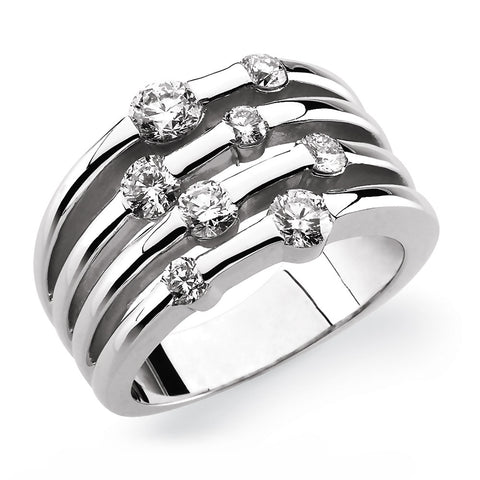 14k White Gold 0.12 CT Diamond Heart Ring