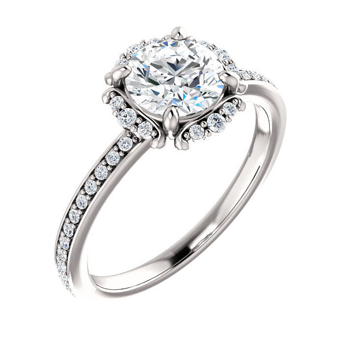 accented mounting rose ring products diamond engagement rings