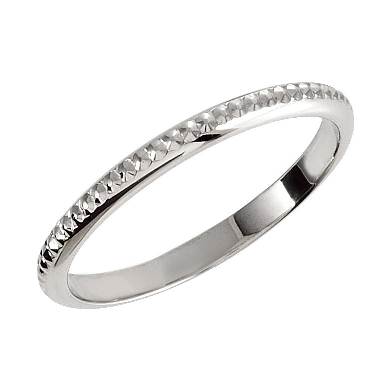 14k White Gold 2mm Hand-Engraved Wedding Band for Solitaire