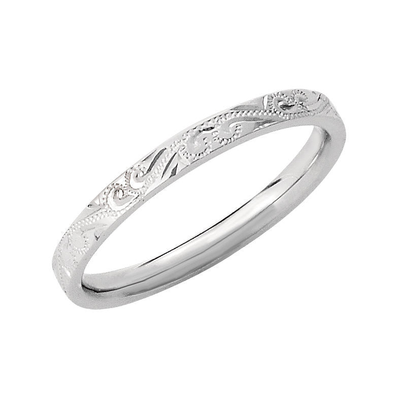 14k White Gold 2mm Hand-Engraved Wedding Band