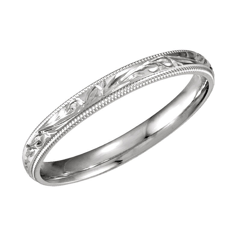 14k White Gold 3mm Comfort-Fit Hand-Engraved Wedding Band