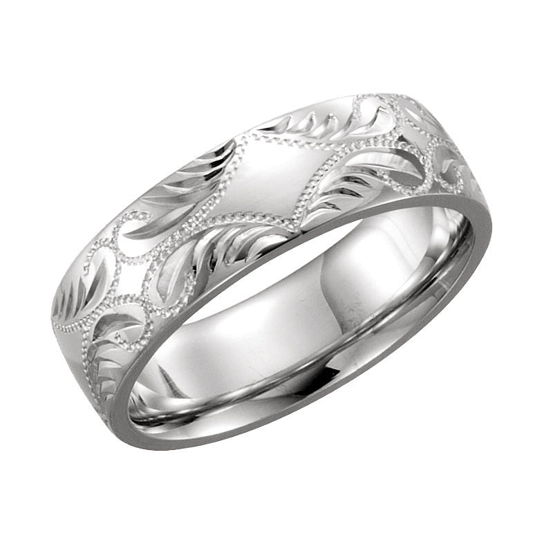 14k White Gold 5.75mm Hand-Engraved Wedding Band