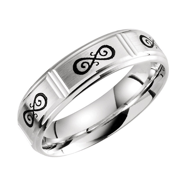 14k White Gold 6mm Celtic-Inspired Infinity Pattern Wedding Band