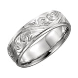 14k White Gold 6mm Hand-Engraved Wedding Band