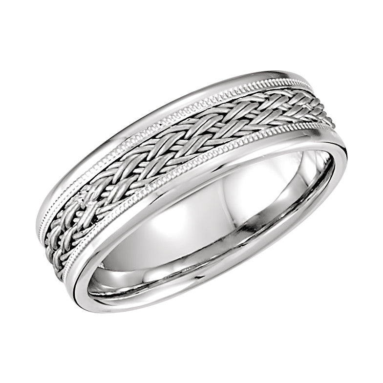 14k White Gold 7.5mm Hand-Woven Comfort Fit Wedding Band