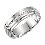 14k White Gold 7mm 0.30CT Diamond Wedding Band