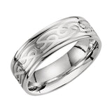 14k White Gold 7mm Celtic-Inspired Infinity Pattern Wedding Band