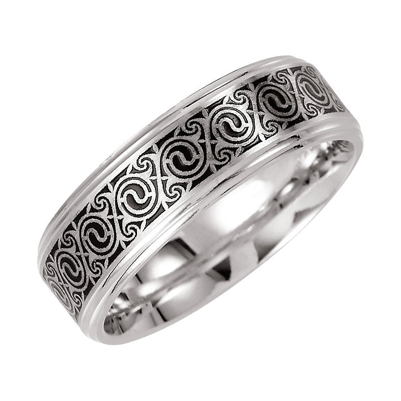 14k White Gold 7mm Enamel Comfort-Fit Wedding Band