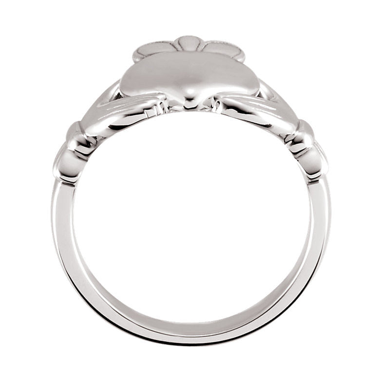 14k White Gold 8.5mm Claddagh Ring