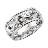 14k White Gold 9.5mm Hand-Engraved Wedding Band