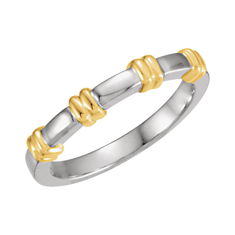 14k White/Yellow Gold 5mm Design Wedding Band