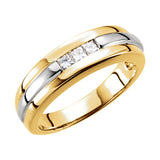 14k White/Yellow Gold 6.5mm 0.30CT Diamond Wedding Band