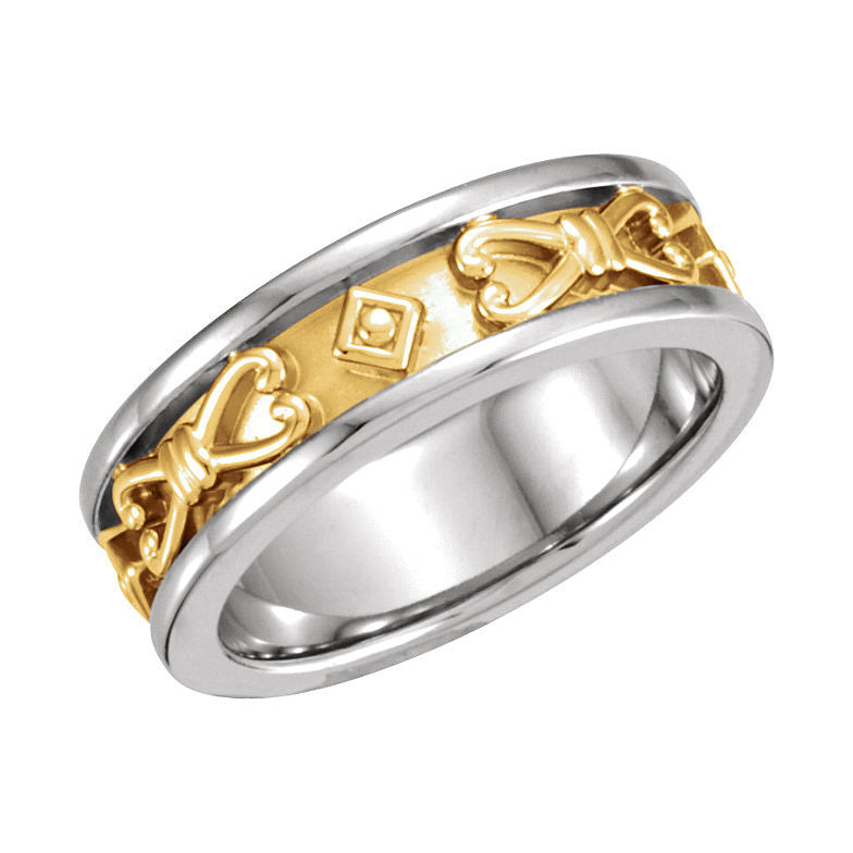 14k White/Yellow Gold 6.5mm Etruscan-Inspired Wedding Band
