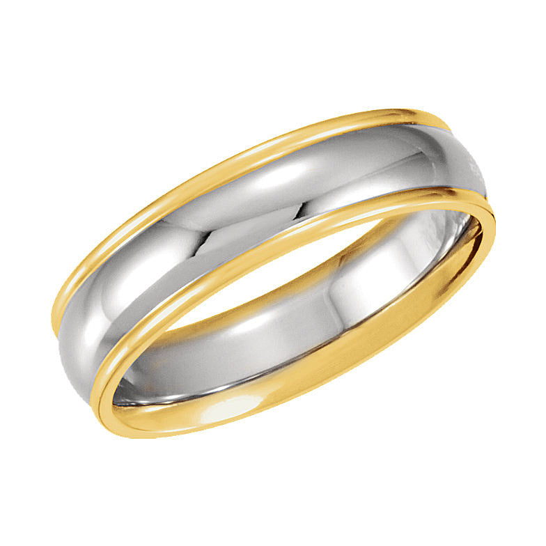 14k White/Yellow Gold 6mm Comfort-Fit Wedding Band